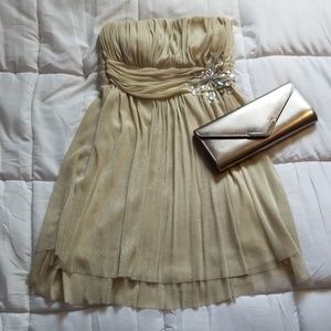 NWT Strapless champagne formal dress